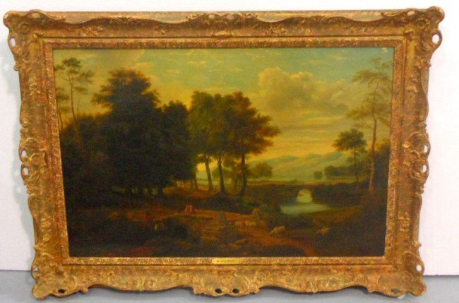 491: Important Richard Wilson, Oil on Canvas Landscape