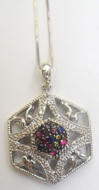 303B: Sterling Silver & Ruby Pendant