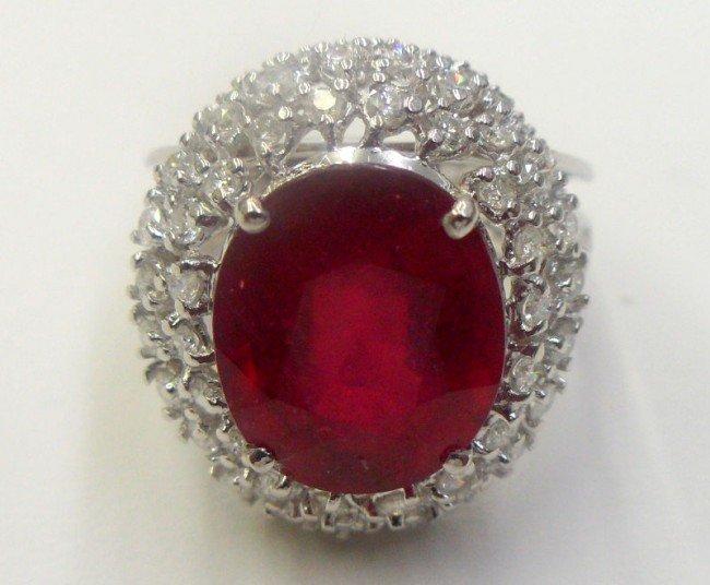 308A: 14K W.G. 9.26Ct Ruby & Diamond Ring