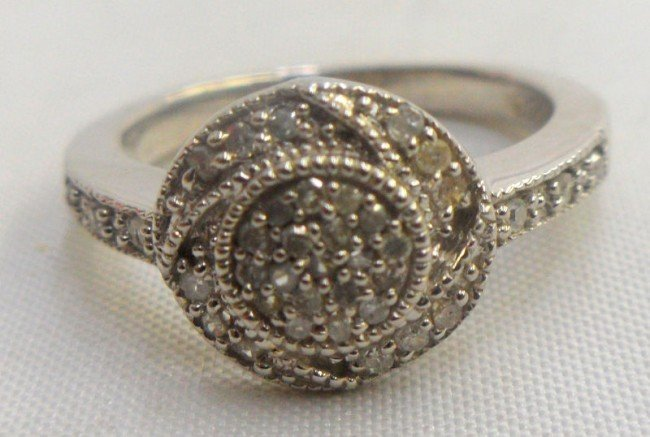 308B: Sterling Silver 0.25Ct Diamond Ring