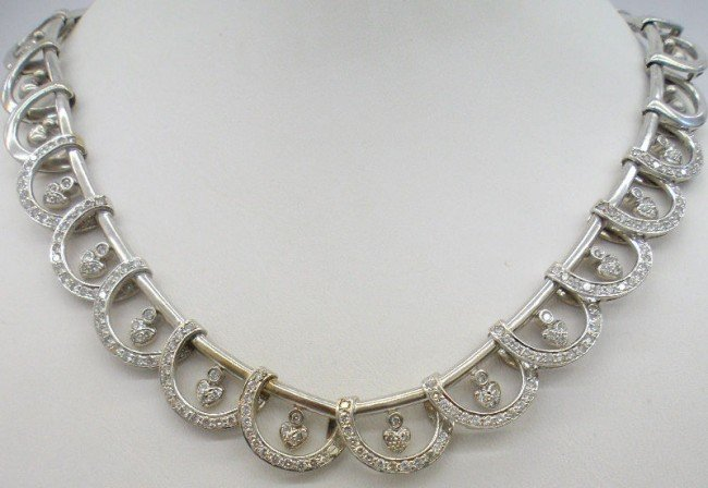 318B: 18K W.G. 5.00Ct Diamond Extension Necklace