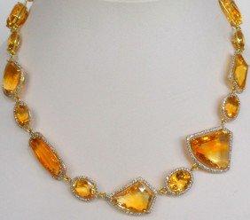 18K Y.G. 167.00Ct. Citrine & Diamond Necklace