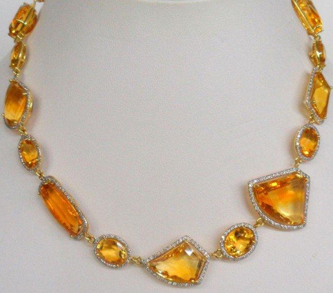 312B: 18K Y.G. 167.00Ct. Citrine & Diamond Necklace
