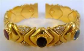 430A: 18K Y.G. Topaz & Tourmaline Cuff Bracelet