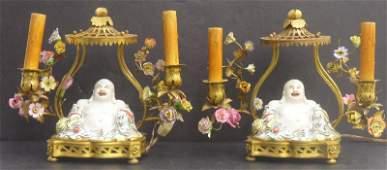 17: Rare Pair of Chinese Buddha 2-light Lamps