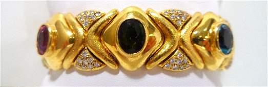 200A: 18K Y.G. Diamond & Gemstone Cuff Bracelet