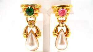 282A: 18K Y.G. Diamond, Pearl & Tourmaline Earrings
