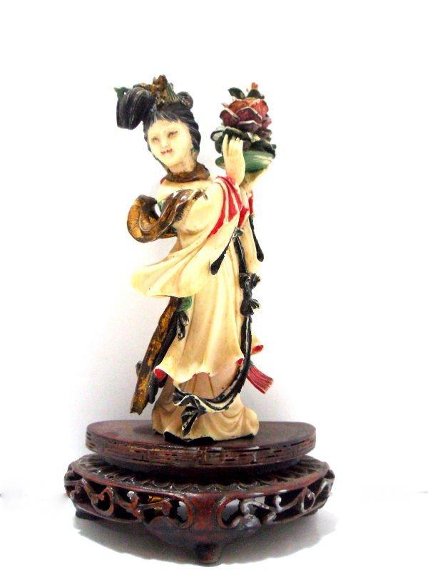 411: Chinese Polychrome Peking Ivory Quan Yin Figure
