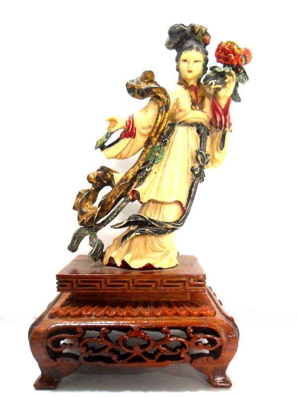 415: Chinese Polychrome Peking Ivory Quan Yin Figure