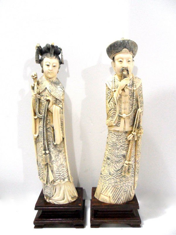 421: Pair of Beautifully Carved Chinese Ivory Figures