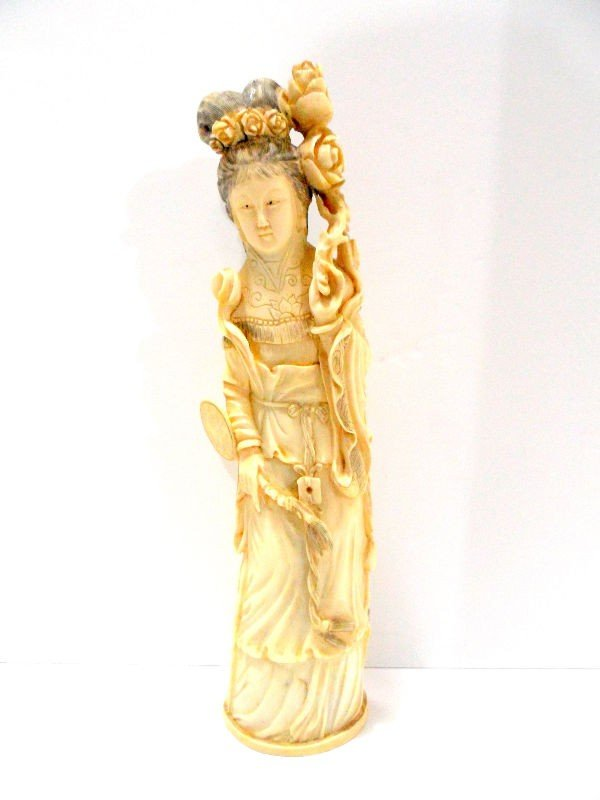 417: Carved Chinese Ivory Tinted Figure of a Beauty