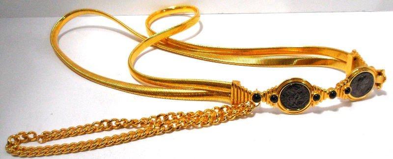 407: Judith Leiber Gold Coin Belt