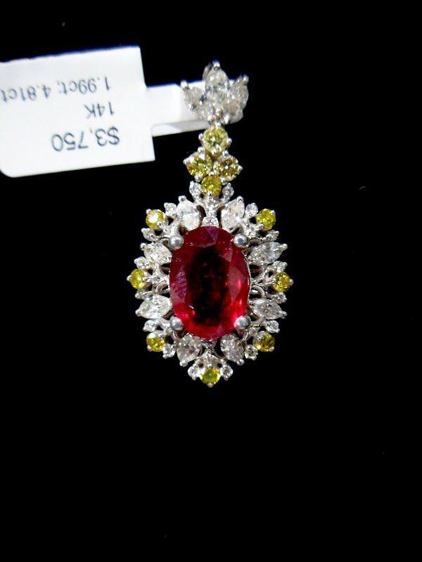 418A: 14K W.G. Ruby & Diamond Pendant
