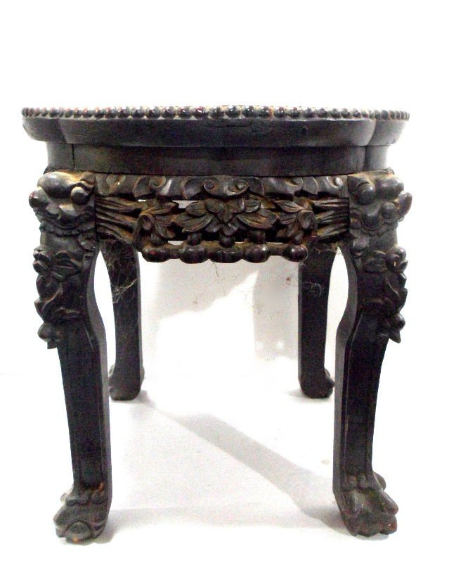 112: Chinese Wooden Pedestal with Marble Top