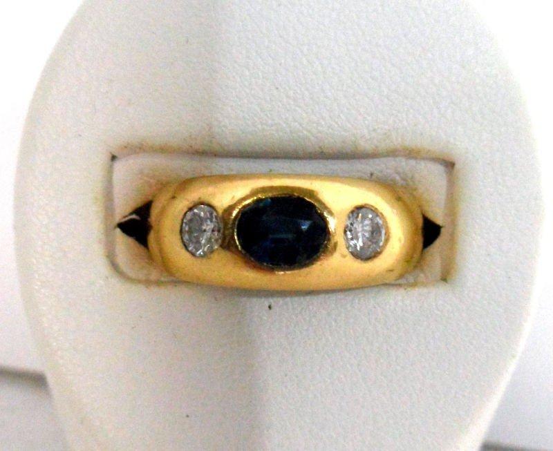 110A: 14K Y.G. Diamond & Sapphire Ring