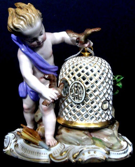 115: Meissen Porcelain Figure of a Child with Birds
