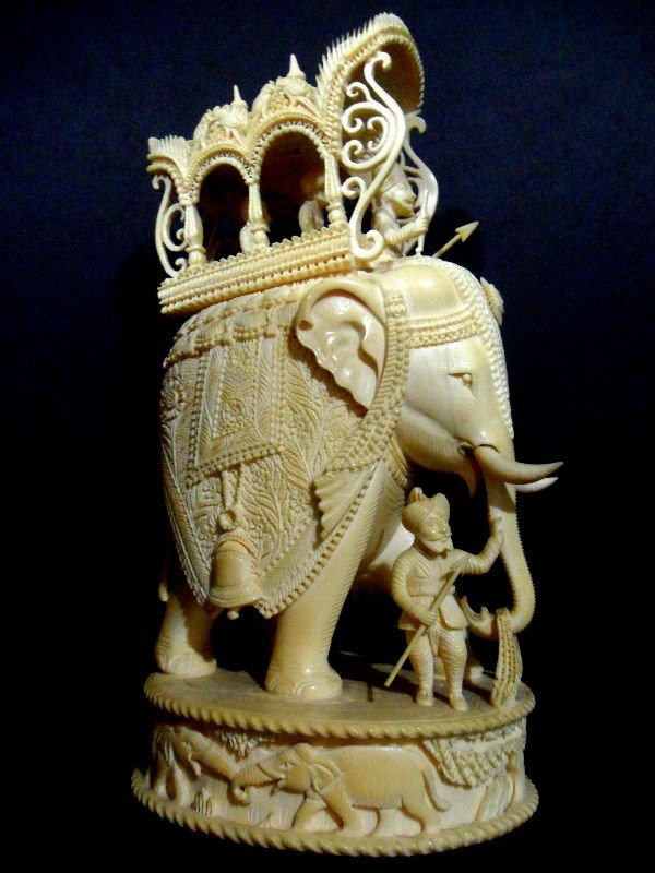 108B: Indian Ivory Carving of a Group with Elephant