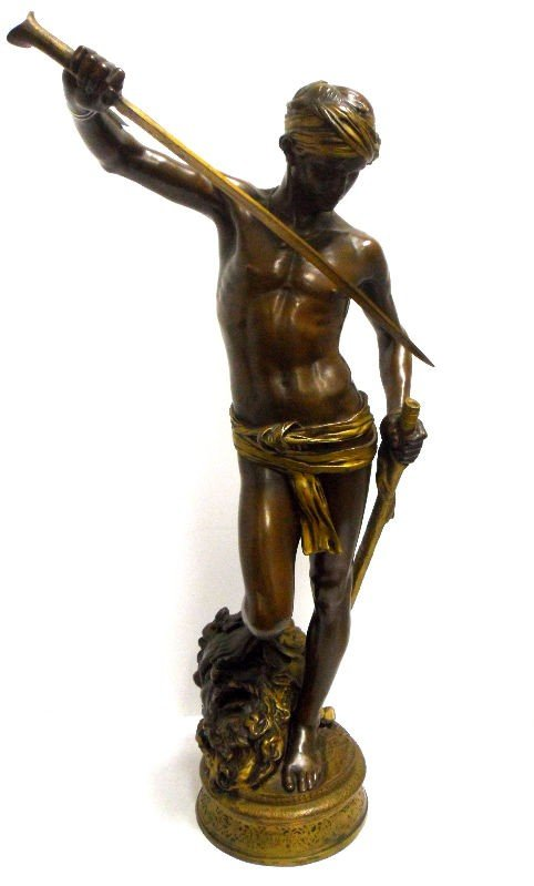 428: Antonin Mercie Bronze David w/ Head of Goliath