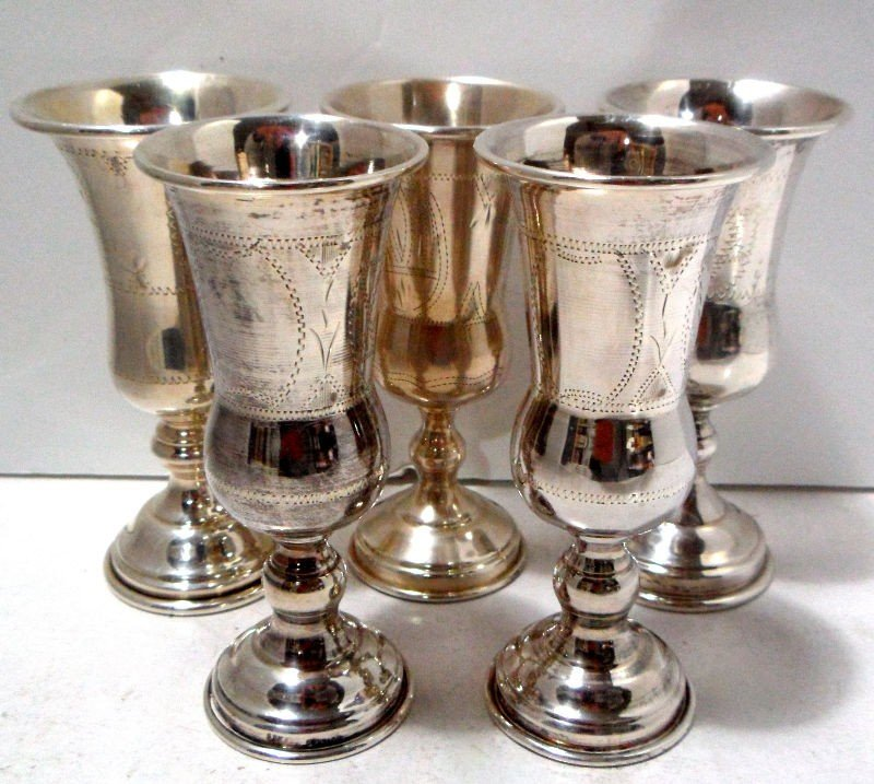 409: Collection of 5 Sterling Silver Kiddish Cups