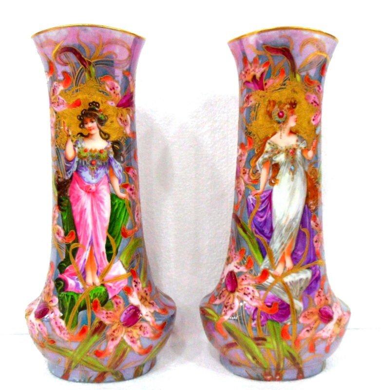 479: Sevres Porcelain Vases in the Art Nouveau Style