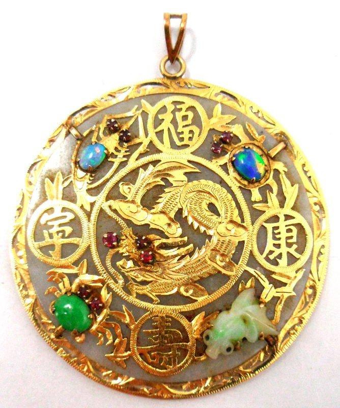 410A: Chinese 14Kt. Y.G. Jade & Gemstone Pendant