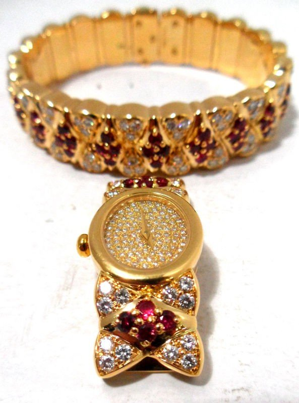 450A: Mauboussin 18Kt. Y.G. Diamond Watch Bangle