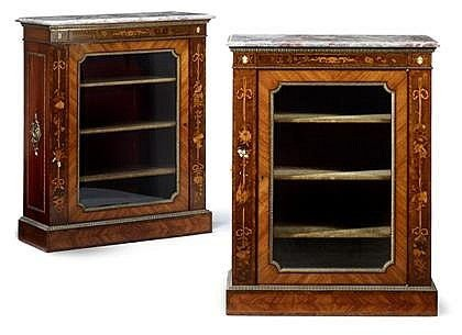 401A: Victorian Marble Top & Ivory Inlaid Cabinets (2)