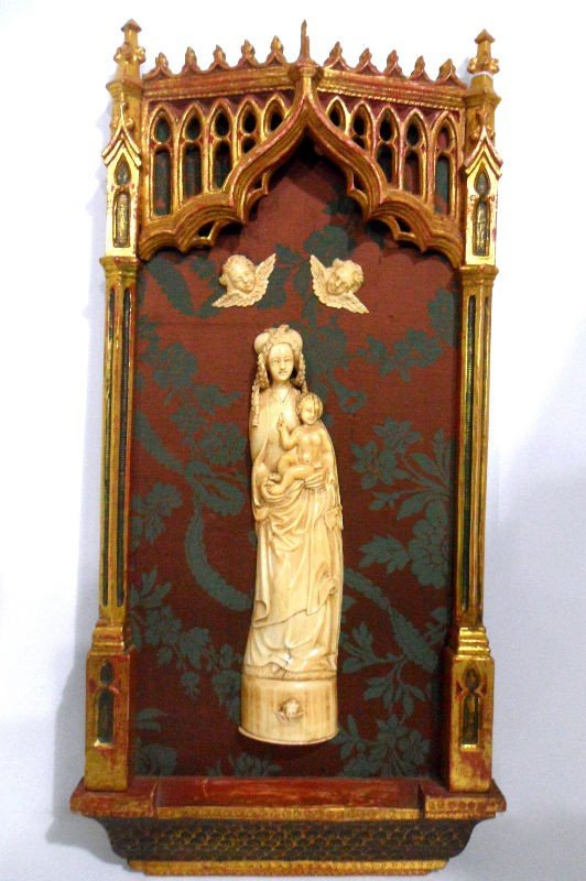 706: European Ivory and Wood Devotional Plaque