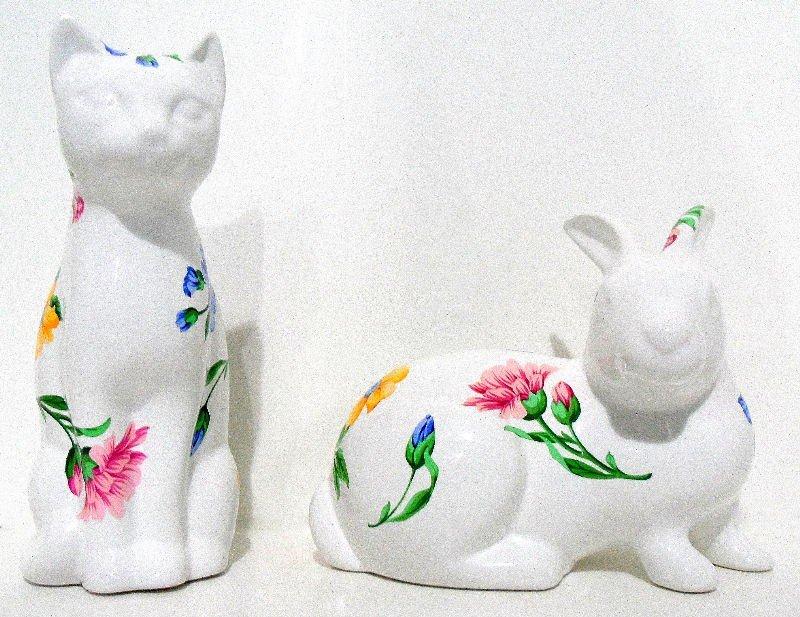 920: Tiffany & Co. Porcelain Rabbit and Cat