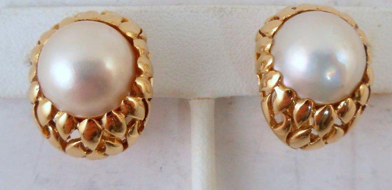 715A: Pair of 14K YG Cultured Pearl Earrings