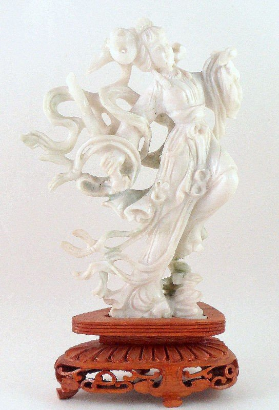 1: Chinese White Jade Figure of a Beauty