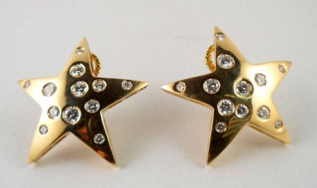 9A: 18Kt. Y.G. Diamond Star Earrings