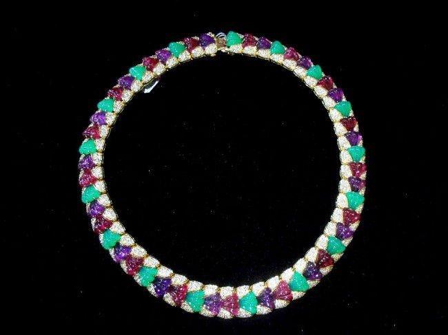 11A: 18Kt. Y.G. 25.Ct Diamond & 100Ct Gemstone Necklace