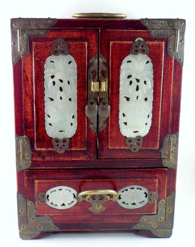 146: Chinese Wood and Jade Jewelry Box