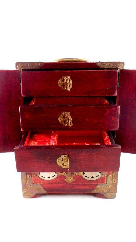 146: Chinese Wood and Jade Jewelry Box - 2