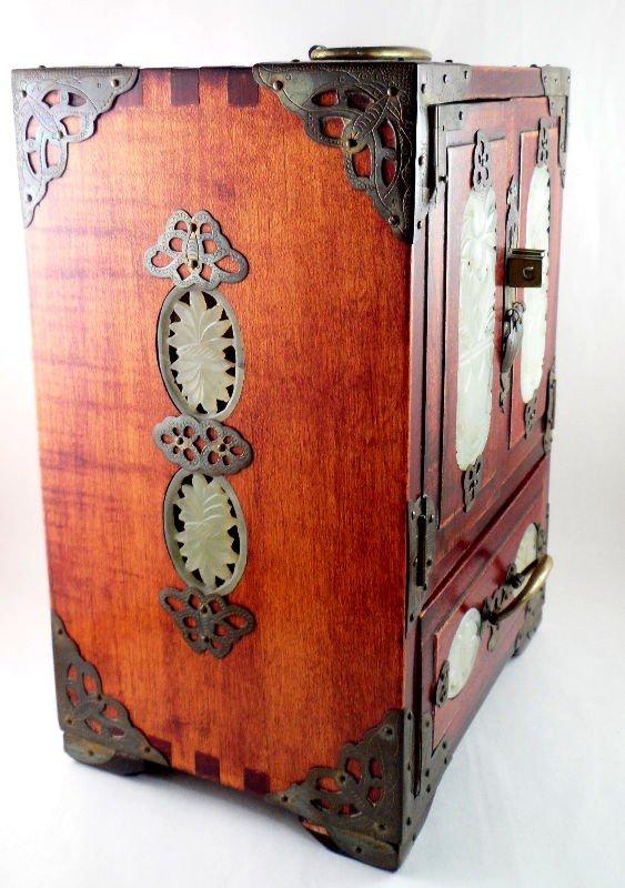 146: Chinese Wood and Jade Jewelry Box - 3