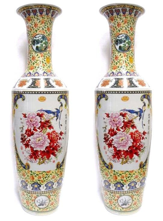 300: Chinese Pair of Polychrome Porcelain Palace Vases