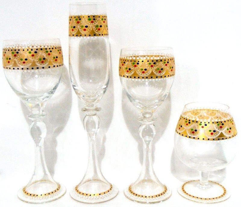 309: Murano Glass and Gilt Set of Glasses (18)