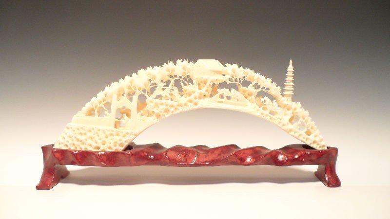 304: Chinese Ivory Carved Tusk Bridge