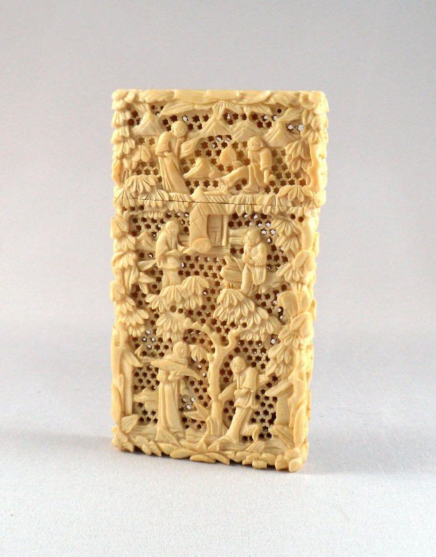 313: Chinese Ivory Carved Opium Case