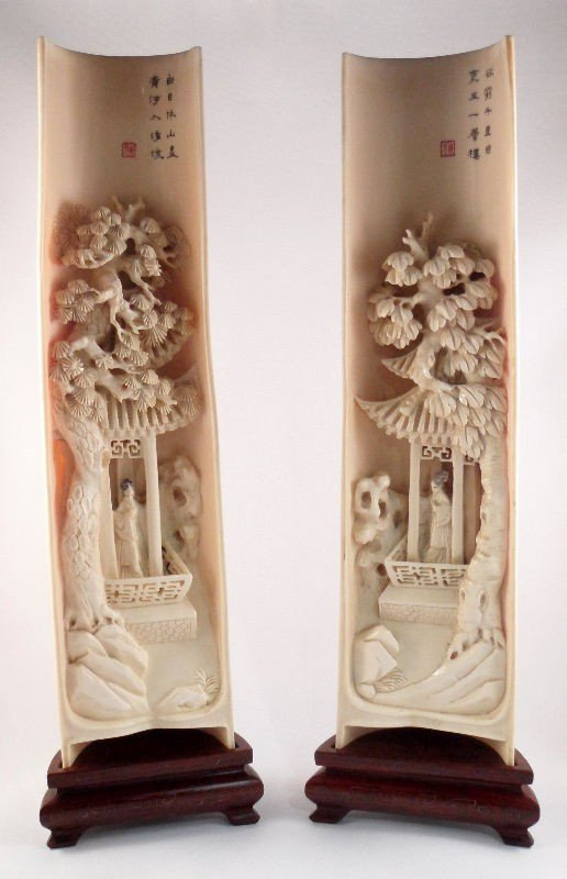 317: Chinese Antique  carved Ivory Wrist Rests