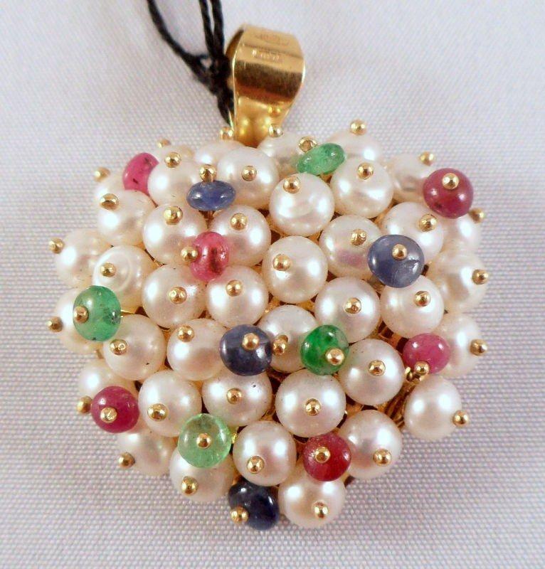 305A: 18Kt. Y.G. Gemstone & Pearl Pendant