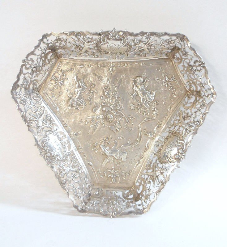 604: German Silver Triangle Dish