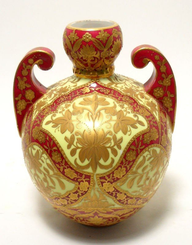 611: Royal Crown Derby Porcelain Gilt Vase