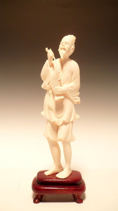 613: Chinese Ivory Figure of a Fisherman