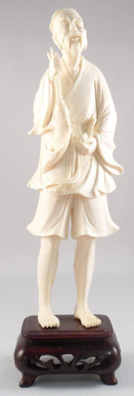614: Chinese Ivory Figure of a Fisherman