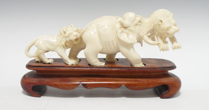 605: Chinese Ivory Carved Animal Group