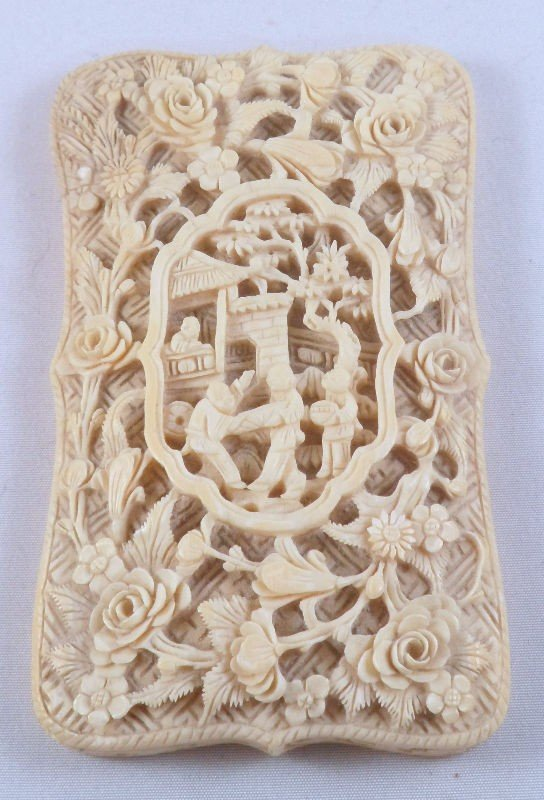 705: Chinese Ivory Carved Opium Case
