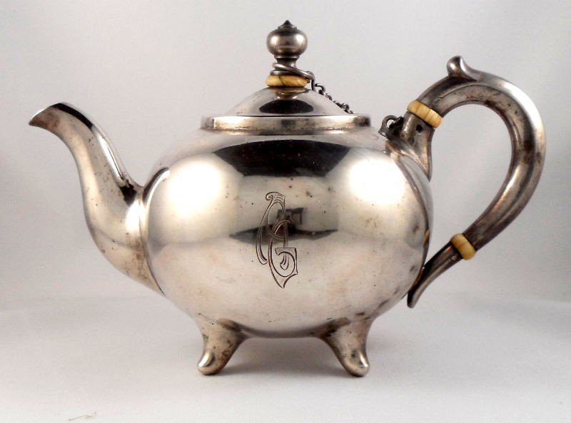 719: Russian Silver Teapot with Ivory