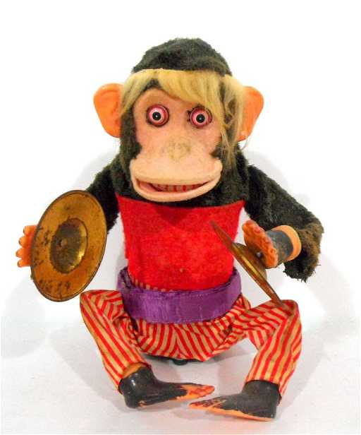 779 Vintage Toy Monkey Playing Symbols